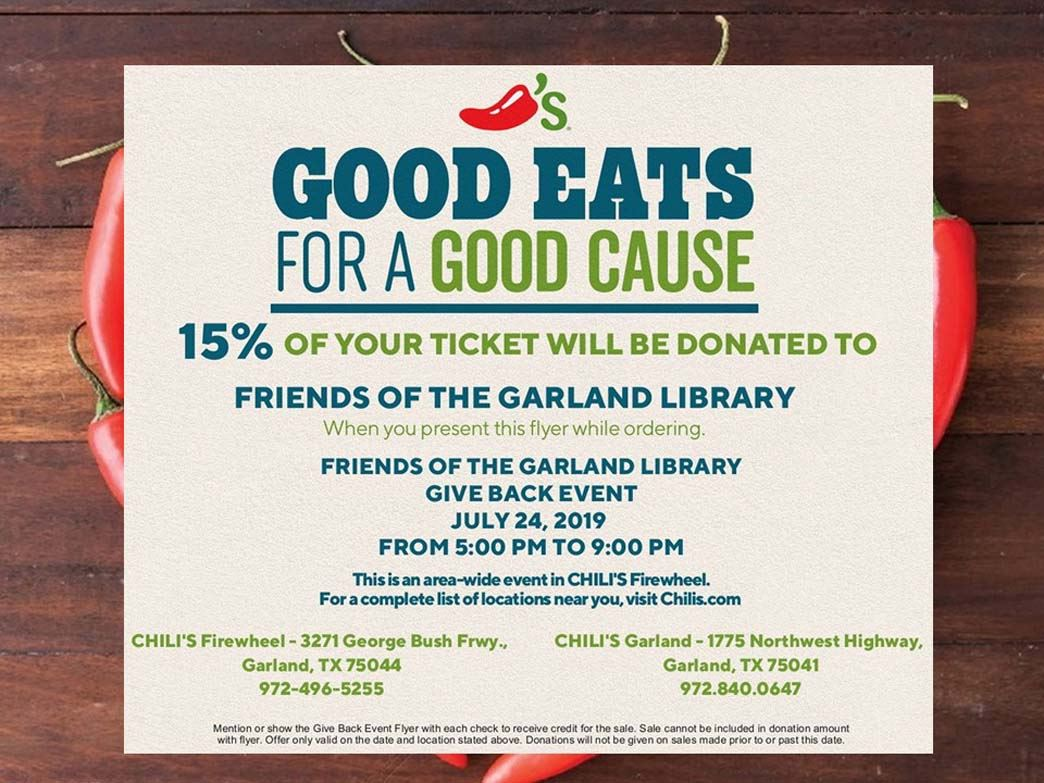 Friends of the Library Chilis Fundraiser flier