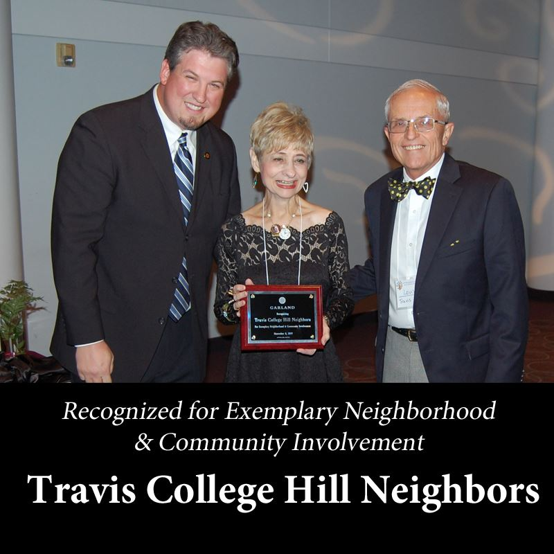 Recognized for exemplary Neighborhood & Community Involvement travis college hill Neighbors