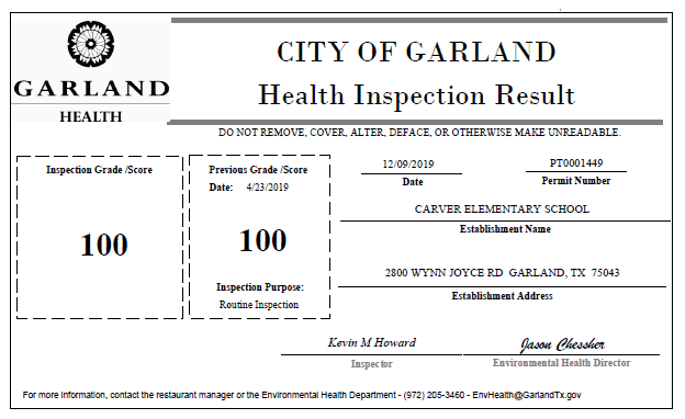 Food Establishment Inspection Result Certificate